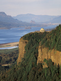 View of Crown Point at Dusk  Columbia Gorge  Oregon  USA
