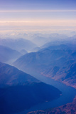 Aerial View of Columbia River Valley  Mountains  USA