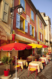 Colorful Cafe and Street Scene in Greoux-Les-Bains  Provence  France