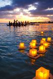 Lantern Floating Festival  Memorial Day  Ala Moana Park  Honolulu  Oahu  Hawaii  USA