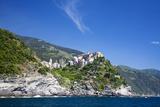 Hillside Town of Corniglia from the Ocean  Cinque Terre  Italy