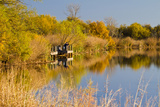 Fishing at Copper Breaks State Park in Autumn at Quanah  Texas  USA