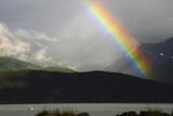 Rainbow over Seward and Resurrection Bay  Seward  Alaska  USA
