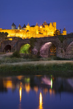 Twilight over Carcassonne and River Aude  Languedoc-Roussillon  France