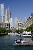 Canal View of the Chicago's Magnificent Mile City Skyline  Chicago  Illinois