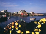 Fishing Nets and Houses at Harbor  Peggy's Cove  Nova Scotia  Canada