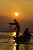 Fishing in the Danube Delta  Casting Nets During Sunset on a Lake  Romania
