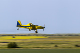 Crop Duster Airplane Spraying Farm Field Near Mott  North Dakota  USA