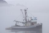 Fishing Boat in Fog with Mountains Behind  Valdez  Alaska  USA