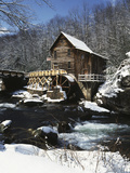 Old Water Wheel in Winter  Bailey Road  Cuyahoga Falls  Ohio  USA