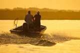 Fishermen Boating Toward the Laguna Madre  Texas  USA