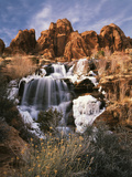 View of Frozen Waterfall of Mill Creek  Spanish Valley  Utah  USA