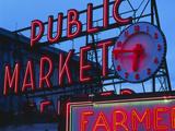 View of Public Market Neon Sign and Pike Place Market  Seattle  Washington  USA