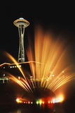 Space Needle Tower with Fountain  Seattle  Washington  USA