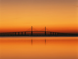 Sunshine Skyway Bridge over Tampa Bay from Fort De Soto Park  Florida  USA