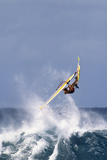 Windsurfing on the Ocean at Sunset  Maui  Hawaii  USA