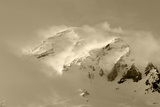 Clouds Wrapped Summit of Mount Rainier  Mt Rainier National Park  Washington  USA