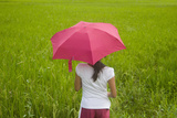 Girl with Red Umbrella with Rice Paddy  Bohol Island  Philippines