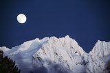 Full Moon over Snowcapped Mountain  North Cascades  Washington State  USA
