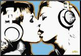 Steez Girls Kissing Art Poster Print
