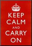 Keep Calm and Carry On (Motivational  Red) Art Poster Print