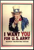 I Want You for US Army Uncle Sam WWII War Propaganda Art Print Poster