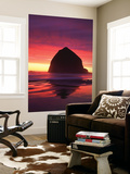 Haystack Rock Silhouetted on Cannon Beach at Sunset  Oregon  USA