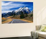 Teton Park Road and Teton Range  Grand Teton National Park  Wyoming  USA