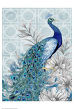 Monochrome Peacocks Blue