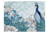 Monochrome Peacocks Blue