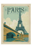 Paris, France (Eiffel Tower Blue Sky) Giclée par Anderson Design Group
