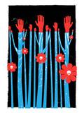 Hands Flowers Skulls