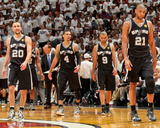 Miami  FL - JUNE 6 Tony Parker  Danny Green and Manu Ginobili