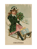 Christmas Card  Girl Wearing Green Velvet Coat Sledding with Gifts  Beatrice Litzinger Collection