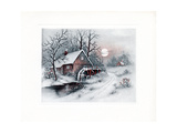 Greeting Card - Carriages Winter Scene with House and Water Wheel