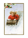 Christmas Card with Child Sledding Down a Hill  Beatrice Litzinger Collection