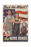 Military and War Posters: Back the Attack! Buy More Bonds! US Government Printing Office  1944