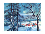 Greeting Card - Winter Scene with Red Village  National Museum of American History