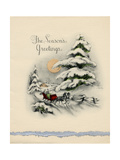 Greeting Card - The Season's Greetings, Winter Scene with Red Carriage Giclée