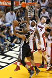 Miami  FL - JUNE 6 LeBron James  Chris Andersen and Tim Duncan