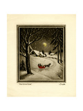 Two People in Horsedrawn Sleigh on Snowy Landscape