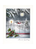 Greeting Card - Candles Season's Greetings - Winter Scene with Candle in the Window Giclée