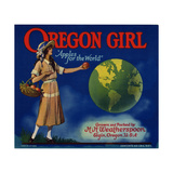 "Fruit Crate Labels: Oregon Girl ""Apples for the World"" Grown and Packed by HH Weatherspoon"