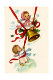 Christmas Card; Angels Ringing a Bell with a Girl Swinging  National Museum of American History