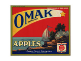 Fruit Crate Labels: Omak Brand Fancy Apples; Omak Fruit Growers