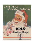 Center Warshaw Collection  US Treasury Poster Give a Share in America WAR Bonds and Stamps