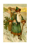 Father Christmas Dressed in Green Carrying Baskets of Toys and Holly  Beatrice Litzinger Collection