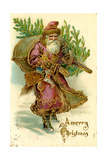 Father Christmas Dressed in Pink Carrying Pack of toys and Pine Tree  Beatrice Litzinger Collection