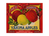 Fruit Crate Labels: Red Ribbon Brand Yakima Apples; Yakima County Horticultural Union Giclée