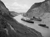 Boats Move Through Panama Canal at the Culebra Cut  Ca 1910-14